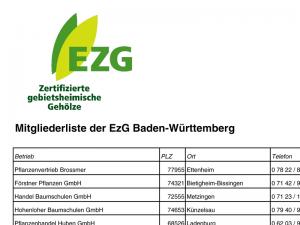 Die Liste der Mitgliedsbetriebe der Erzeugergemeinschaft-BW